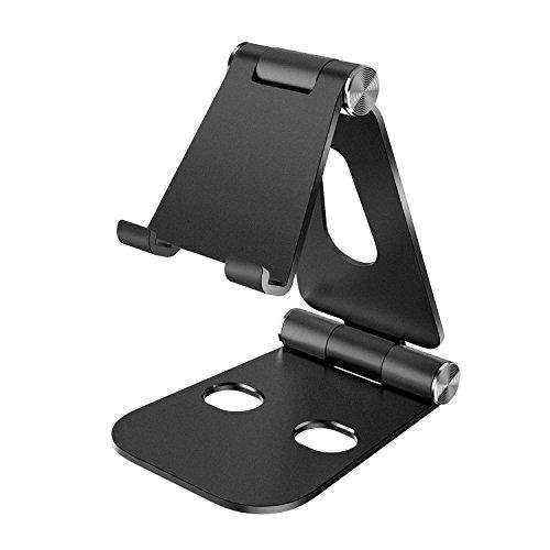ATiC スマートフォン用 &タブレット用スタンド 高級アルミ製 角度210度調整可能・高さ調整可能 折りたたみ式 滑り止め iPad Pro 11/10.5/9.7,iPhone Xs/iPhone XR/iPhone Xs Max/8/,Samsung Galaxy S10e 5.8,Galaxy S10 6.1,GalaxyS10 Plus 6.4,Galaxy S9,iPad mini 第5世代などに対応 BLACK