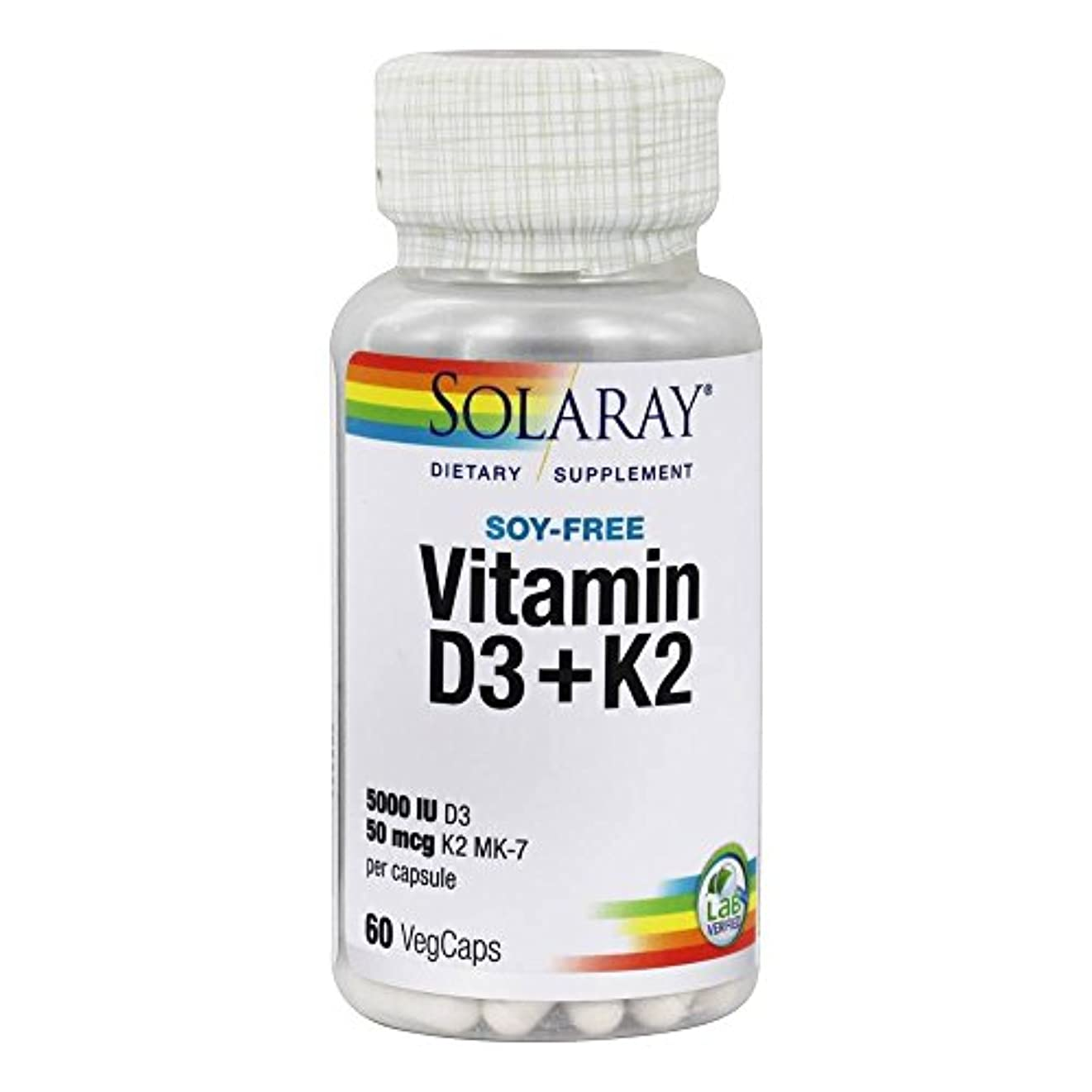筋肉の最初ジョージスティーブンソンSolaray - ビタミン D3 5000 IU & K2 50 mcg MK7 - 60ベジタリアン用カプセル