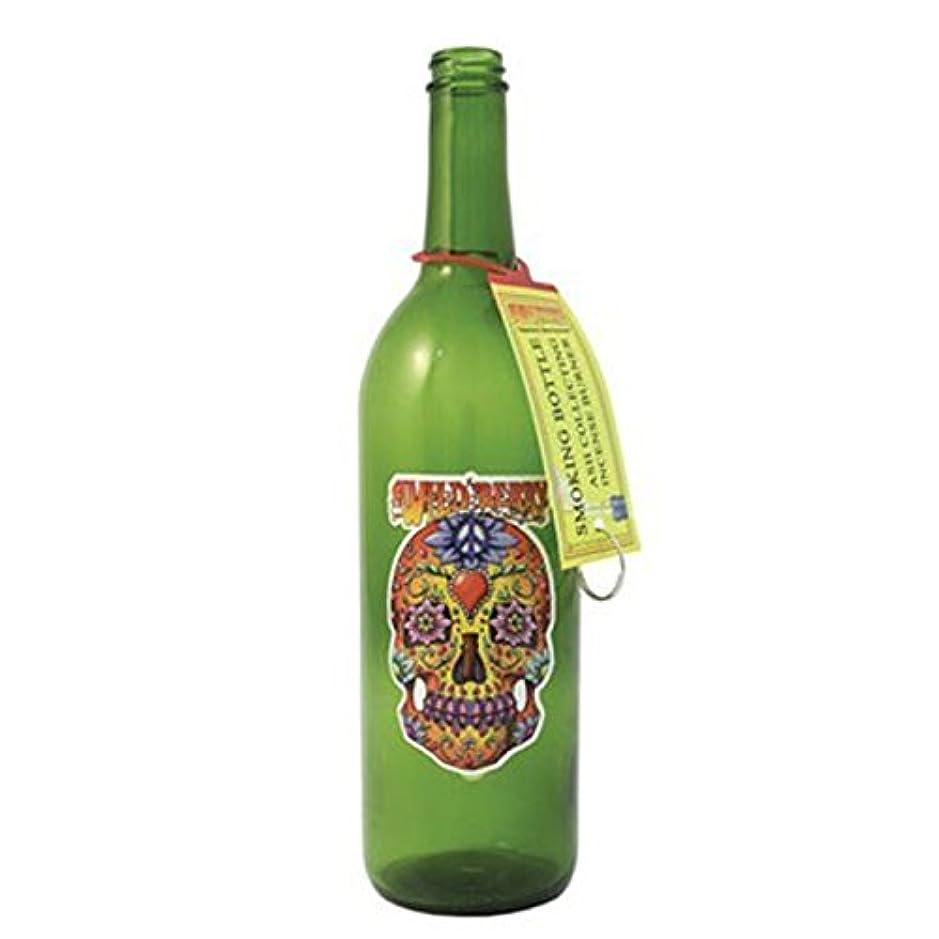 バックグラウンド食い違い構造グリーンガラスIncense Smokingボトルシュガースカルデザイン、Plus 10 SticksフリーオレンジIncense