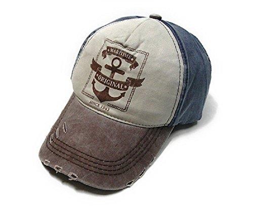 In Cristallo(インクリスターロ) MARITIME ORIGINAL ヴィンテージ風 ベースボールキャップ ロゴプリント 野球帽 ダメージ・汚れ加工済み アメリカン カジュアル 帽子 ファッション小物・雑貨 メンズ 多バリエーション (MARITIME ORIGINAL ネイビー×ブラウン)