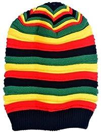 Luck ボーダー ニット帽 レディース カラフル ケーブル編み 帽子 メンズ ワッチキャップ 秋冬