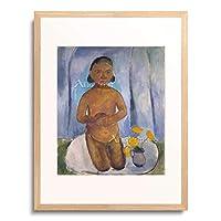 パウラ・モーダーゾーン=ベッカー Modersohn-Becker, Paula 「Kniendes Kind vor blauem Vorhang. 1907.」 額装アート作品