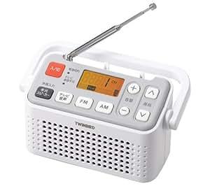 TWINBIRD 手元スピーカー機能付3バンドラジオ ホワイト AV-J125W