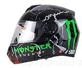 バイクヘルメット システムタイプ モンスターエナジー(艶有り)モデルかっこいいおしゃれ大きい XL(61-62cm)