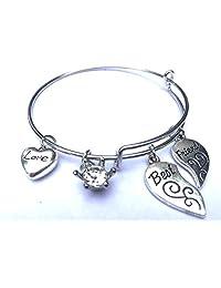 "Lili""Best Friends"" Series - Best & Friends Charms, Love Heart and Diamond Bead, Expandable Shiny Silver Bangle Bracelet"