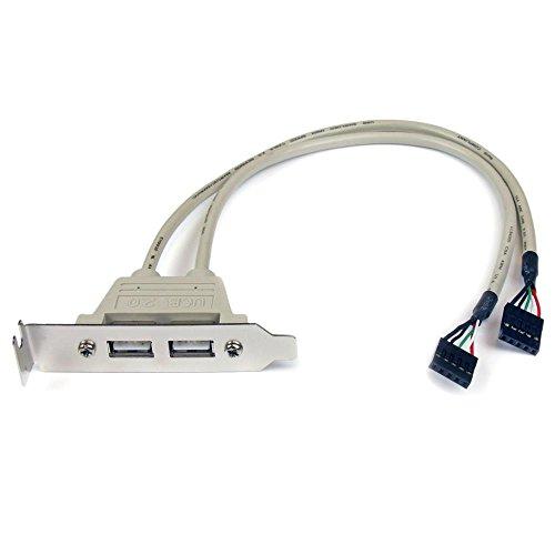 StarTech マザーボードピンヘッダー接続USB 2ポート増設変換アダプタケーブル PCケース用 USBPLATELP 1個