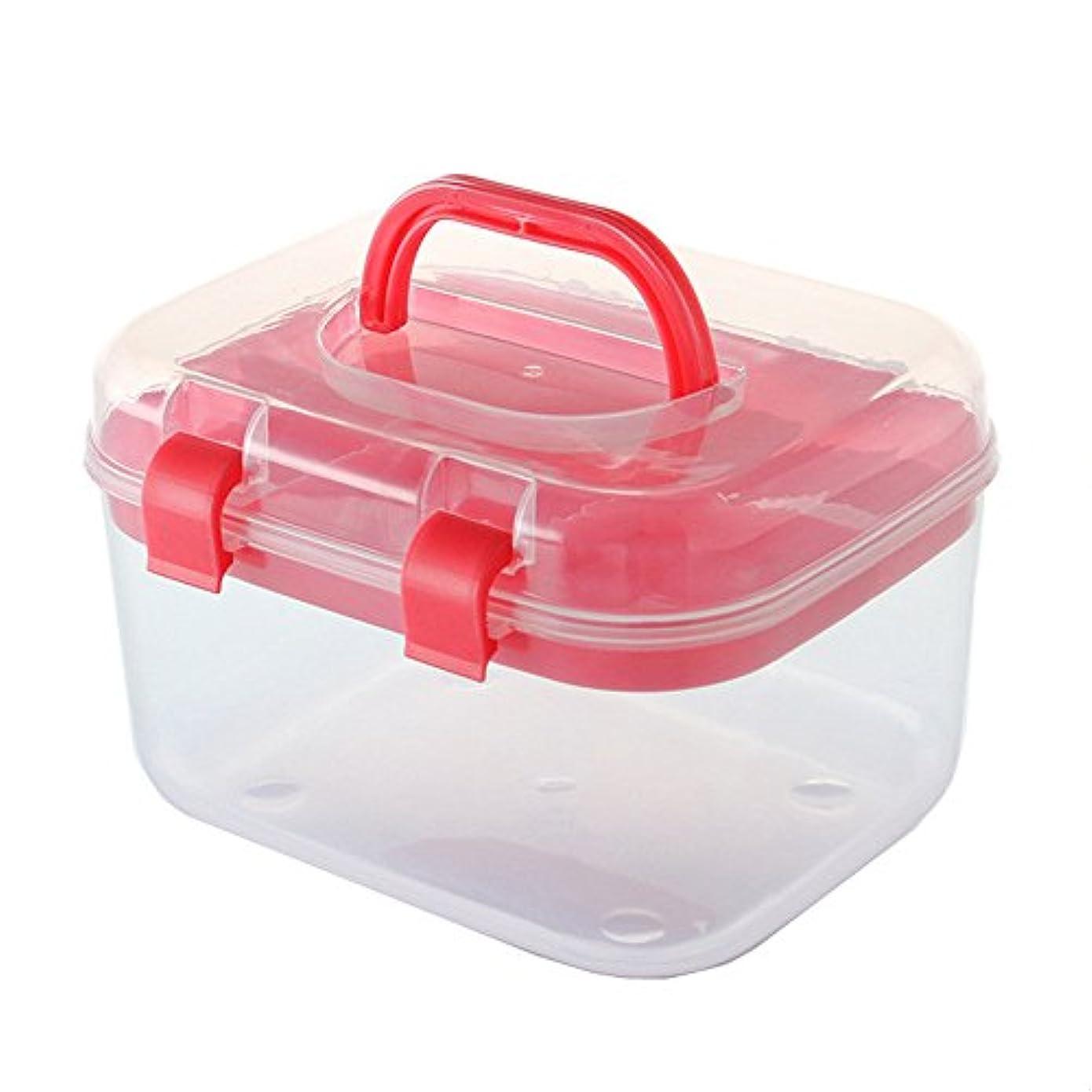 エンゲージメント記述する必要条件応急処置キット 世帯の携帯用プラスチック薬の救急箱の緊急の医療ケースおよび薬剤の貯蔵 ストレージ救急用品 (Color : Red)
