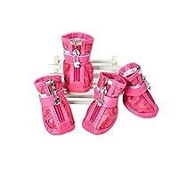 犬の靴、新しい春と秋のPU防水ペットの犬の靴、クマの足カバーよりもテディ小型犬、4つのサプライ品のセットオレンジ5 (Color : Pink, Size : No. 4)