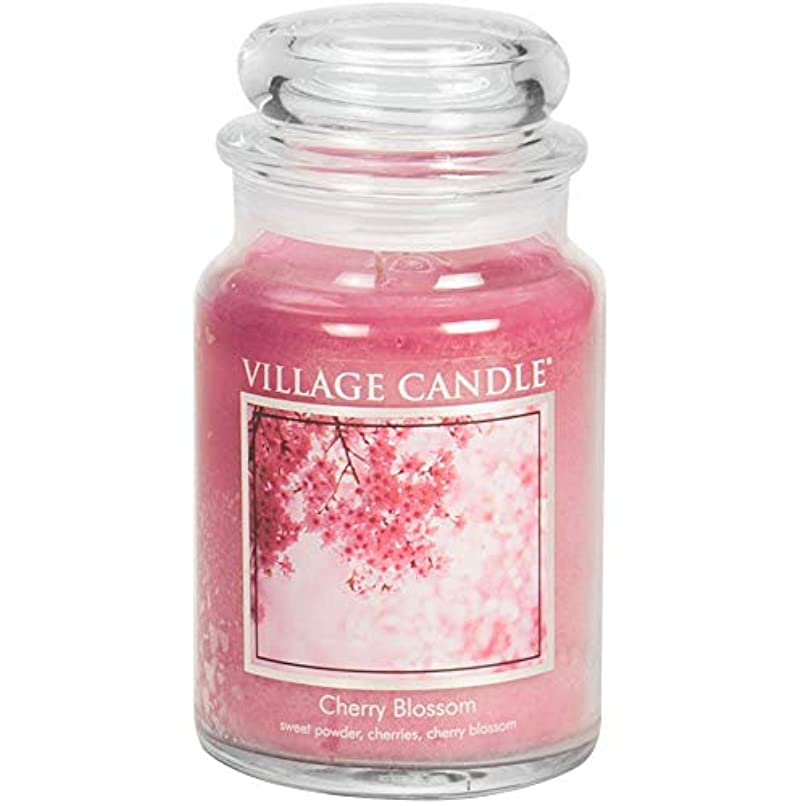 余裕がある自動化不倫Village Candle Large Fragranced Candle Jar - 17cm x 10cm - 26oz (1219g)- Cherry Blossom - upto 170 hours burn...