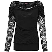 5b7e343e62 SCARLET DARKNESS Women s Gothic Blouse Long Sleeve Square Neck Floral Lace  Shirt Tops