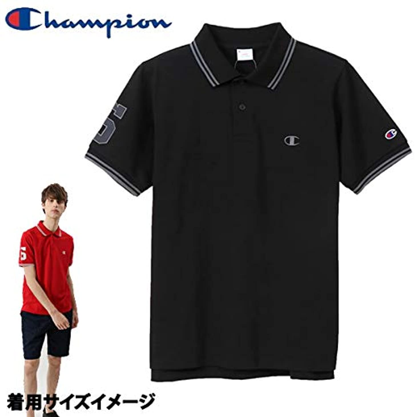 回想波チラチラするCHAMPION チャンピオン CHAMPION メンズ ポロシャツ C3-P342 ブラック 090 POLO CAMPUS キャンパスシリーズ 日本正規品