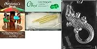 "Cybrtrayd"" Large Alligator""動物チョコレート型Chocolatierのバンドル、Includes 25Cello Bags and 25ゴールドツイストTies"