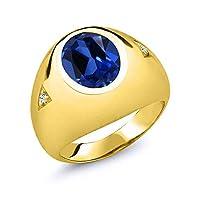 Gem Stone King 6.21カラット シミュレイテッドサファイア シルバー 925 イエローゴールドコーティング 指輪 リング
