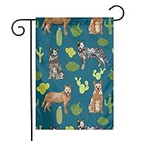 庭の旗オーストラリアの牛犬の生地青と赤のヒーラーサボテン生地 - サファイア屋外庭の芝生の装飾12 x 18インチ