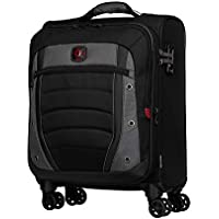 Wenger 604377 Synergy Softside Expandable Carry-On Luggage Spinner Bag, Grey/Black, 55 Centimeters