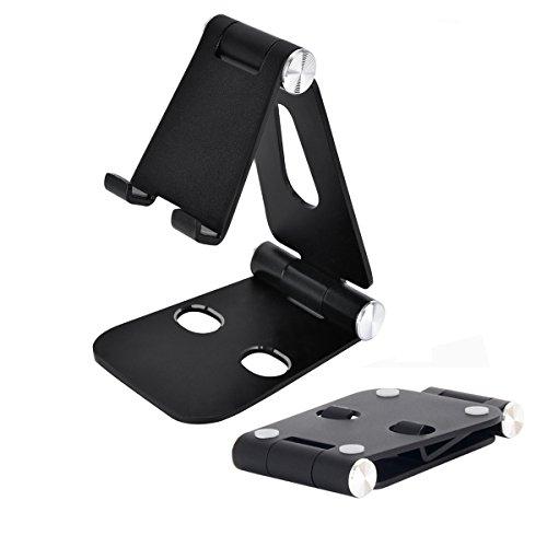スマホ & タブレット スタンド 折り畳み式 角度調整可能 金属材料 スマホ充電ができる、約4-13インチのスマホ タブレットに適用 (ブラック)