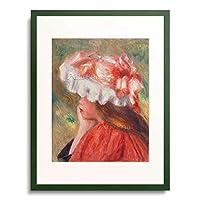 ピエール=オーギュスト・ルノワール Pierre-Auguste Renoir 「Young girl with red hat. 1890」 額装アート作品