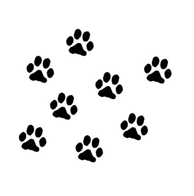 動物 犬 足跡 足型 肉球 マーク ステッカー シール デカール ブラック 8個セット 2.5cm