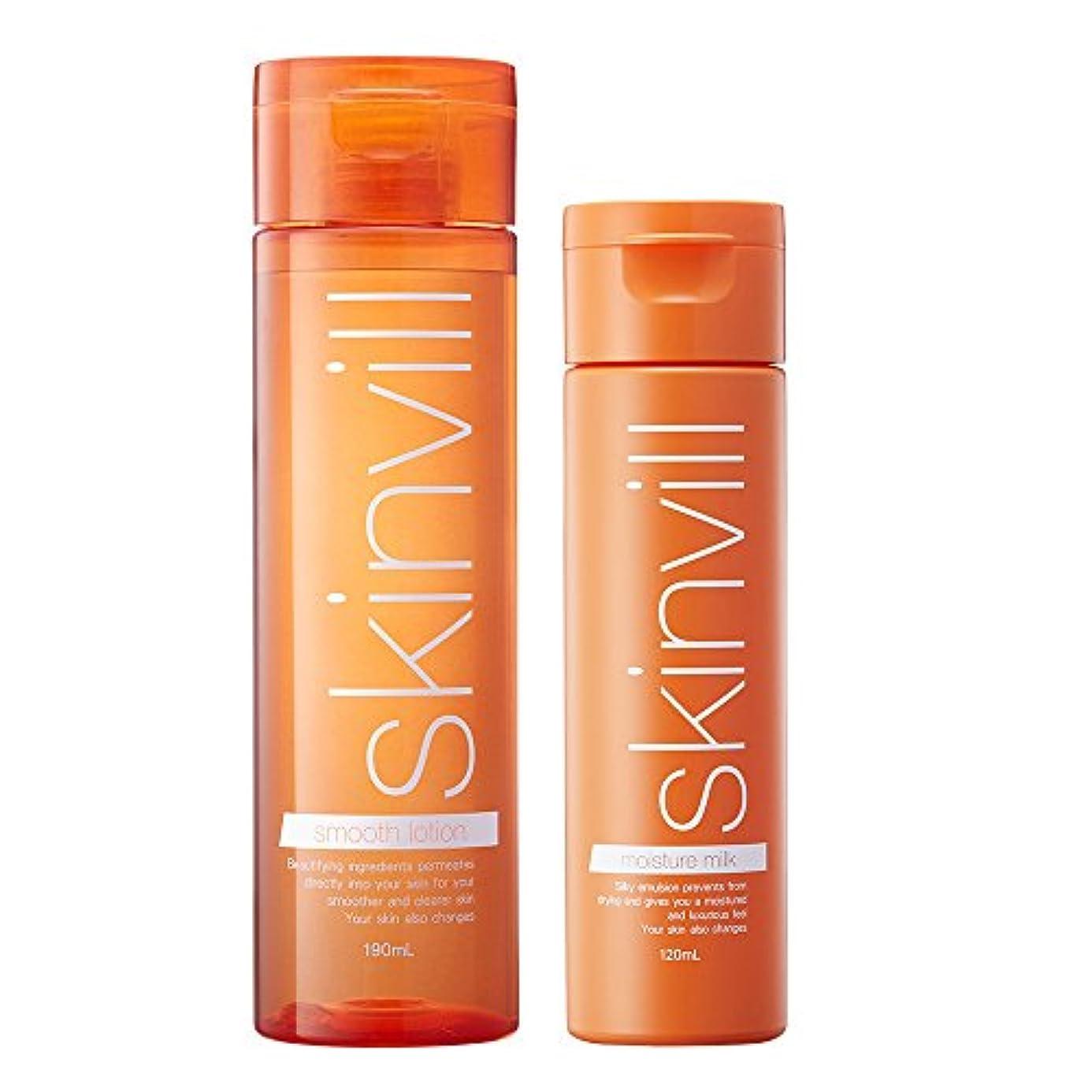 禁じる漏斗効能ある【セット】 skinvill スキンビル スムースローション 化粧水 190ml & モイスチャーミルク 乳液 120ml