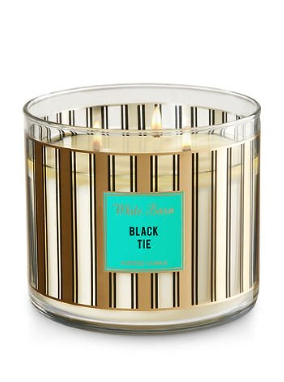 メロンすることになっている近代化するBath & Body Worksホワイトバーン3-wick Candle inブラックタイ