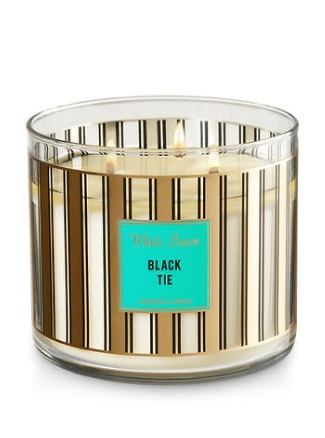 講堂夕方圧力Bath & Body Worksホワイトバーン3-wick Candle inブラックタイ