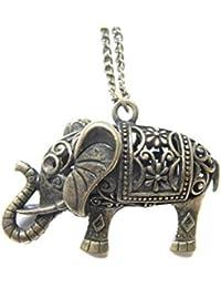 大象ネックレス、アンティークブロンズチャーム、ジュエリー、象、動物、ネックレスGood Luckネックレス