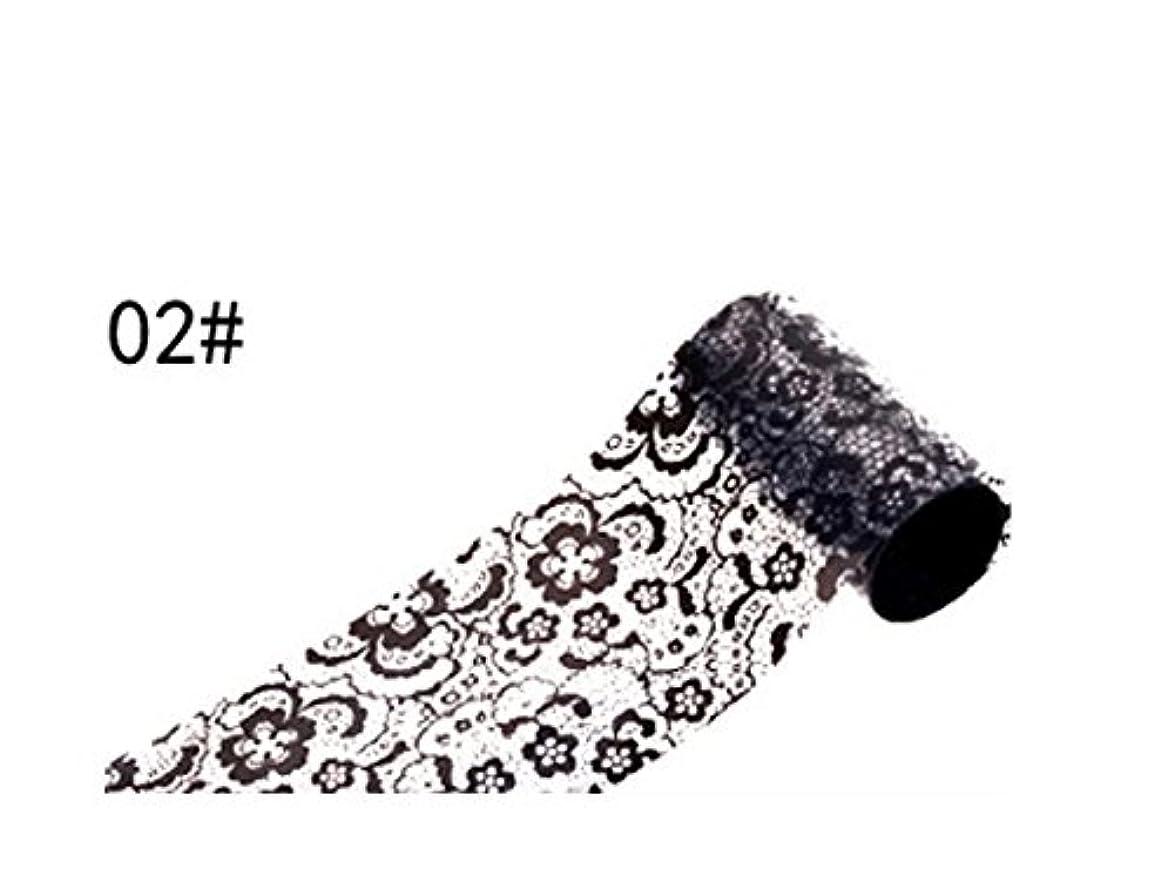 四気分が悪い写真撮影Osize ブラックレースのデザインネイルアートステッカーデカールネイルチップのデコレーションブラックレースの花転写箔ネイルアートセクシーなデザインのステッカー(ブラック)