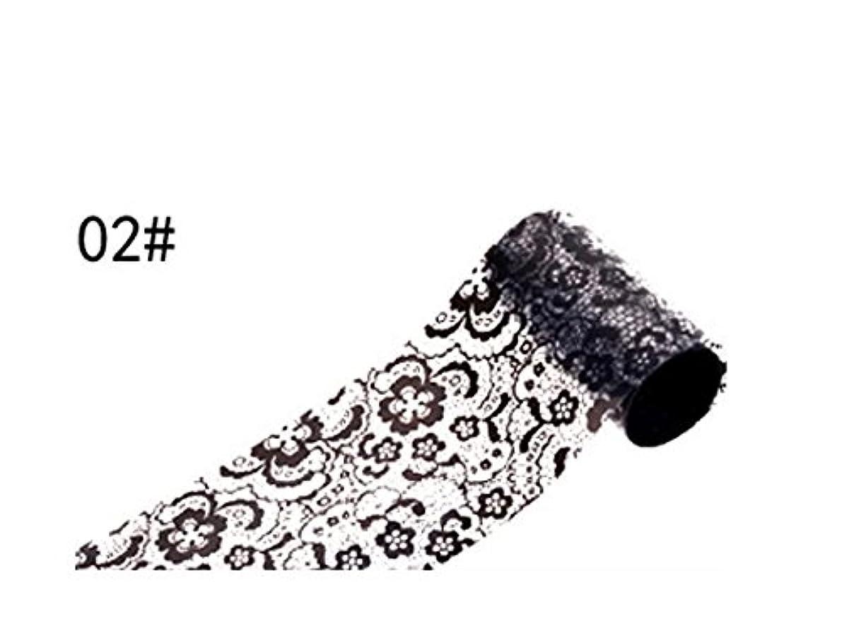 くつろぐ貧しいリムOsize ブラックレースのデザインネイルアートステッカーデカールネイルチップのデコレーションブラックレースの花転写箔ネイルアートセクシーなデザインのステッカー(ブラック)