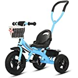 Tricycle with Push Handle Children Walker Children's Bicycles Children's Tricycles Gifts for Kids (Color : Blue, Size : 86x48x57cm)