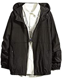 Sodossny-JP メンズ?サンプロテクションジャケット軽量フロントジップフードコート Black M