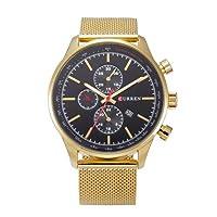 QTMIAO 美しいドレスウォッチ時計 CURREN8227スチールベルトメンズ腕時計メッシュベルトカレンダークォーツ時計 (Color : 1)