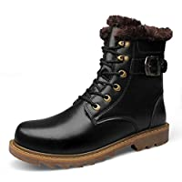 [幸福マーケット] 冬用ブーツ ショートブーツ 裏ボア 防寒 革 革靴 防水 防滑 革靴 カジュアル ハイカット ビジネス ウールインソール 雪対応 あったか かっこいい 冬靴 快適 ウィンター 軽量 ミリタリー ワークブーツ 24cm