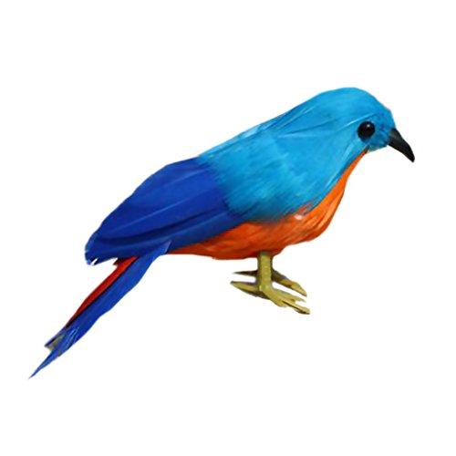Lovoski 鳥の装飾 人工フェザー 現実的 ホーム ガーデン デザイン小物  全11種 高品質 - 青い鳥