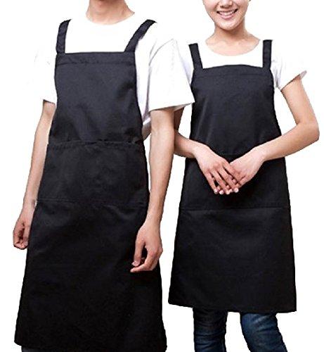 [笑顔一番] カジュアル シンプル エプロン 無地 フリー サイズ / 料理 仕事 に 大きな サイズ で / 耐洗 撥水 防汚 加工 レディース メンズ 男女兼用 膝丈 タイプ ソムリエ にも [A085-05] (1. ブラック 黒 )