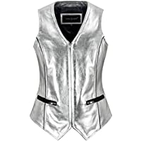 Smart Range Leather Ladies Silver Foil Waistcoat Real Lambskin Slim-fit Vest Gilet 5678