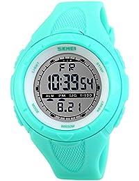 SKMEI 腕時計 キッズ 見やすい スポーツ シンプル デジタル表示 30M防水 LED 日付 曜日 アラーム クロノグラフ プラスチックベルト グリーン