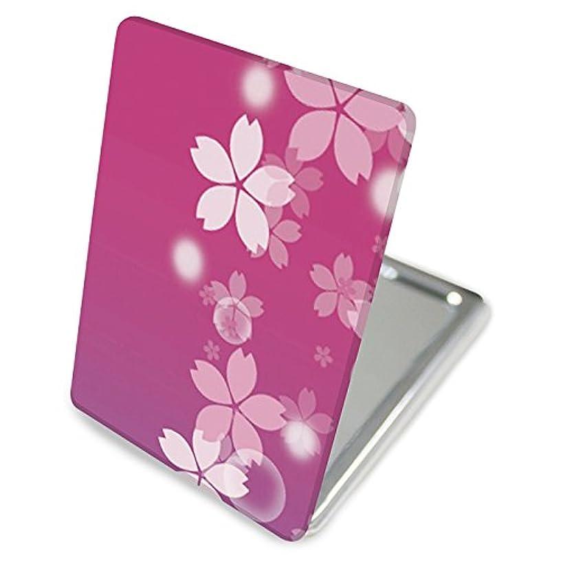 顕著以内に羊飼い(カリーナ) Carine 手鏡 コンパクトミラー ハンドミラー 拡大鏡付 持ち歩きに便利 かわいい kgm011(E) 花柄 フラワー デザイン 桜 チェリーブロッサム Cherry Blossoms