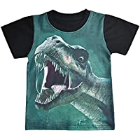 Tkria Little Boys Short Sleeve T-Shirt Tee Easter Cotton Dinosaur T-Rex Shirts Top For Toddler Kids 3-8 Years