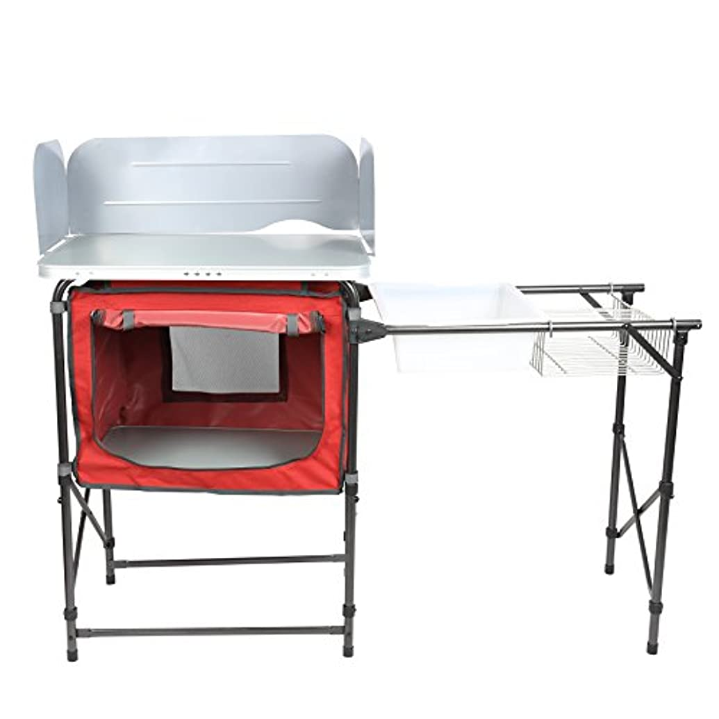 PORTAL 折りたたみ式デラックスキャンプキッチン軽量グリル ポータブルテーブル 洗面台付き ウィンドガード ディッシュラック
