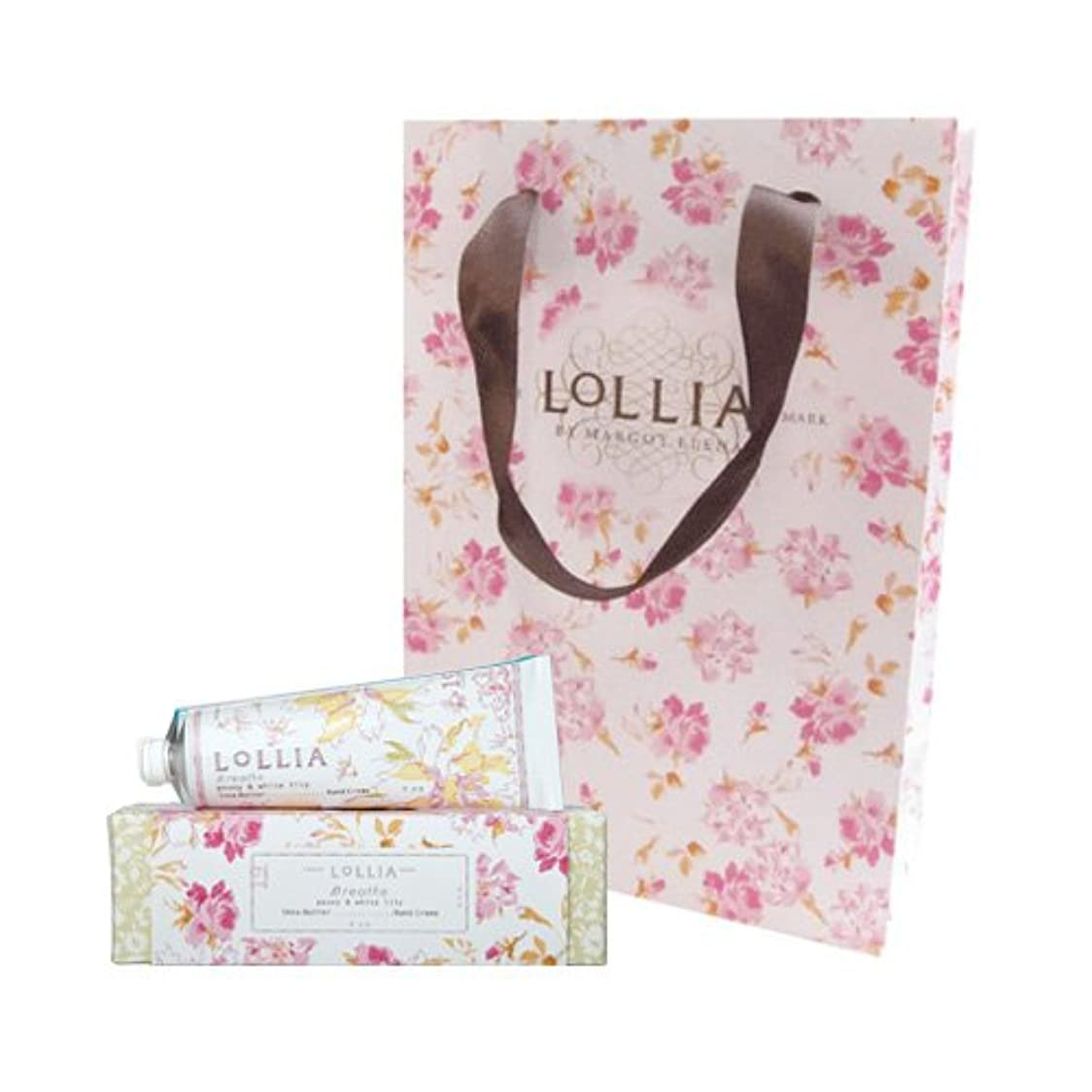 忍耐応援するペグロリア(LoLLIA) ハンドクリーム Breath 35g (ピオニーとホワイトリリーの甘くさわやかな香り) ショッパー付