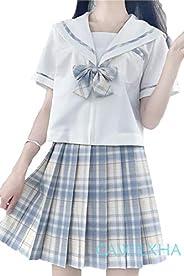【まるこの猫柳】レモン きいろ セーラー服 半袖 チェック柄 ミニスカート ファスナー 可愛い コスプレ コスチューム 女子高生 学園祭 文化祭 仮装 本格制服