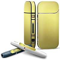 IQOS 2.4 plus 専用スキンシール COMPLETE アイコス 全面セット サイド ボタン デコ 木目 ゴールド シンプル 000556