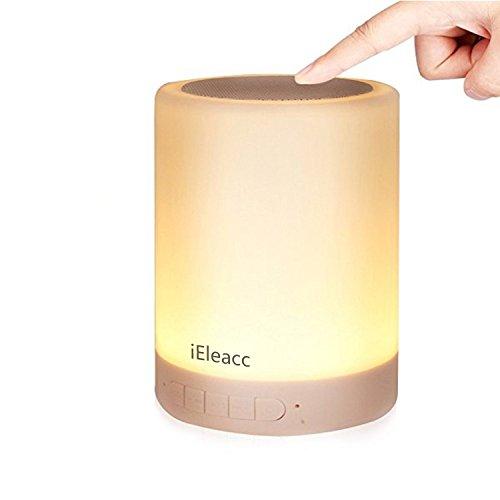 iEleacc LEDライト Bluetoothワイヤレススピーカー 卓上ランプ タッチセンサーランプ 雰囲気灯 夜間ライト USB充電式 照明ランプ 手を触れるコントロール 照度調節&交替点灯 多機能 夜間照明 室内用 音楽放送 TFカード穴付き