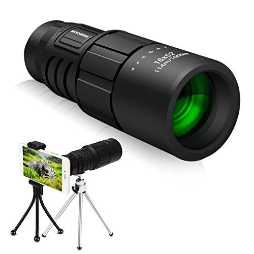 スマホレンズ SGODDE 単眼鏡 16X52 カメラ ズーム レンズ 携帯便利 取り付け簡単 クリップ式 66-8000メートル 三脚付き アウトドア キャンプ 登山 スポーツ観戦 野鳥観察に最適