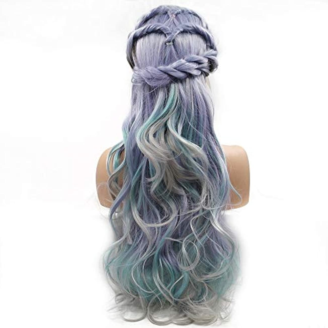 赤道フロー乳白HAILAN HOME-かつら ウィッグ髪にグラデーションの色先見の明髪カーリーヘアウィッグレディース手作りのレースのヨーロッパとアメリカのウィッグセットが自然リアルな換気を配置します