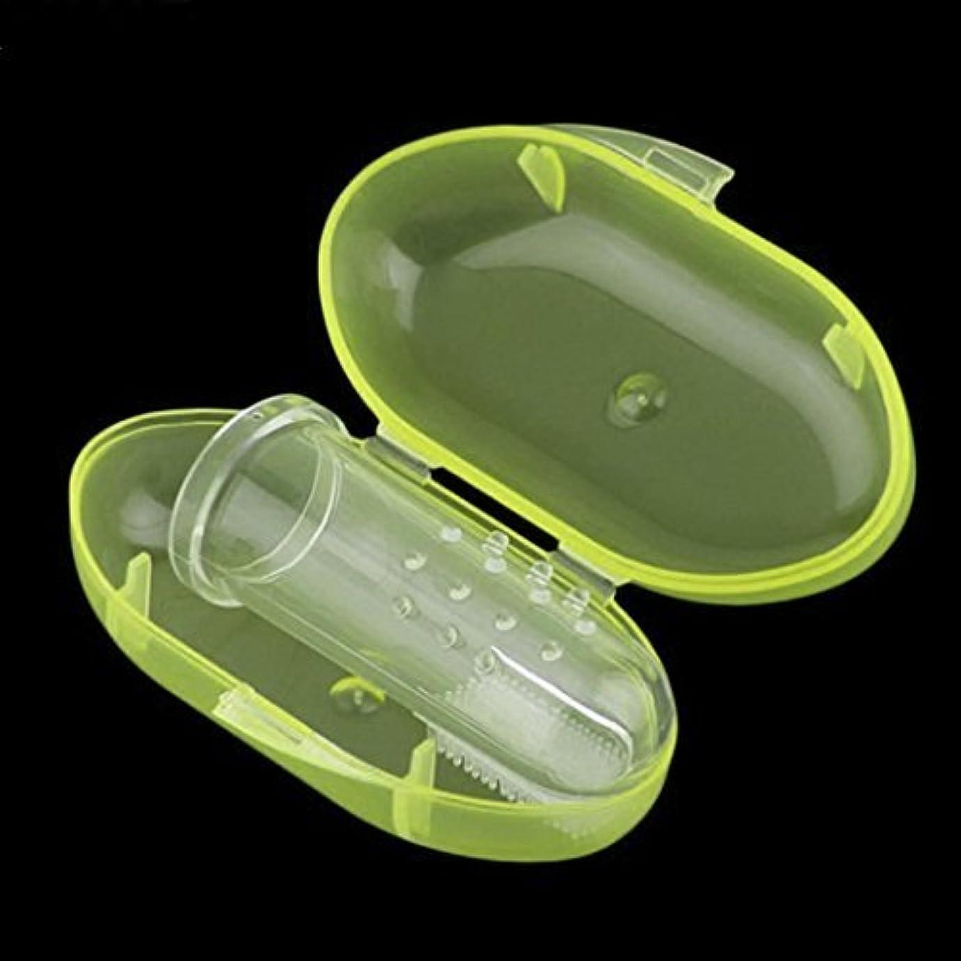 歯を磨いて指ゴム歯ブラシマッサージボックス子供赤ちゃん幼児todderと柔らかいシリコーン