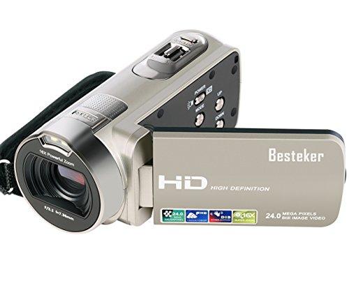 Besteker ポータブルビデオカメラ 2400万画素 HD1080P 16倍デジタルズーム ビデオカムコーダー 2.7インチ液晶ディスプレイ 270度回転スクリーン SDカード(最大32GB) 日本語説明書&1年間の保証付き(312P) (シャンパン)