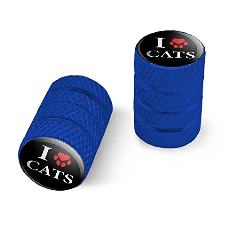 オートバイ自転車バイクタイヤリムホイールアルミバルブステムキャップ - ブルー私は足のプリントで猫の心を愛する