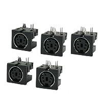 uxcell Din S JackDVD コネクタ PCB 金属 プラスチック製 ブラック シルバートーン 1.4 x 1.2 x 1.2cm