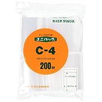 生産日本社 ユニパック(チャック付ポリ袋) C-4 ポリエチレン 日本 (200枚入) AYN0801